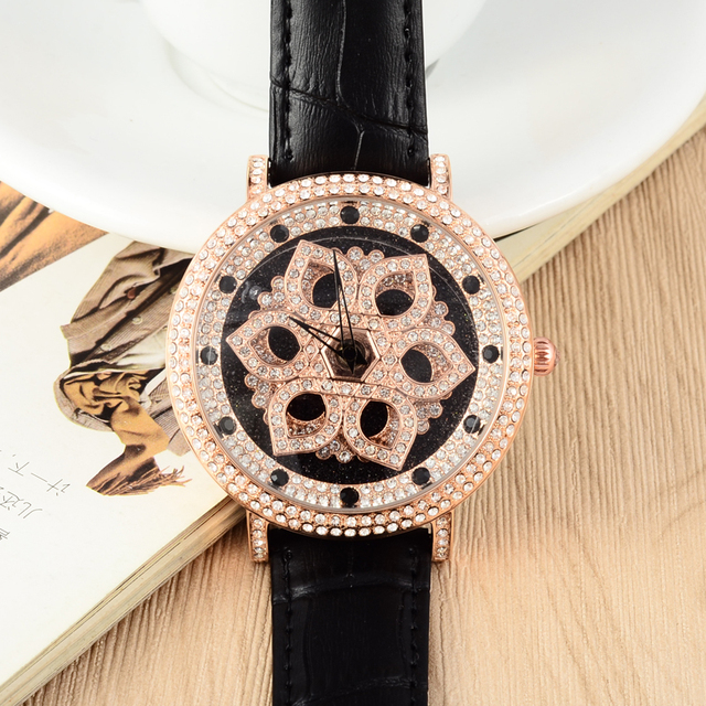 MASHALI GOOD LUCK Rotation Series Women Vintage Flower Watches Fashion Shining Crystals Dress Wrist watch Quartz Relojes W058
