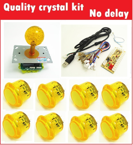 1 kit for PC controller with 45mm crystal top ball joystick and 30mm buttons Multicade Keyboard Encoder ivy queen orange full buttons mod kit for ps4 playstation 4 controller r2 l2 trigger with symbol triangle circle square x button