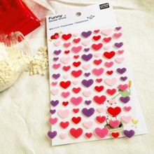 mix size cute pink purple color heart sticker non-woven felt fabric material photo album decoration craft DIY scrapbooking(China)