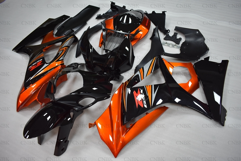 for Suzuki GSXR1000 2007 2008 K7 Abs Fairing GSXR 1000 2008 Orange Black Fairings GSX R1000