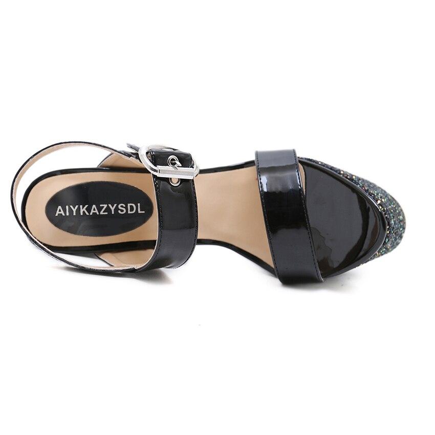 Chaussures Très Aiykazysdl Bling Talon Épaisse Bloc Paillettes Femmes Mariage Haute Talons Brillant Sexy Black De Sandales Pompes Ultra Pu Cuir OOwqfv