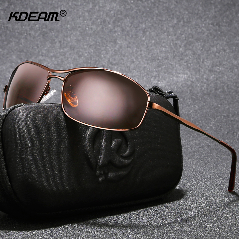 KDEAM High-end Polarized For Men Sunglasses Metal Rectangular Brushed Polaroid Sun Glasses With Full Package