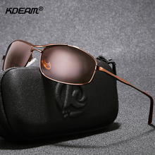 KDEAM High-end Polarized For Men Sunglasses Metal Rectangular Brushed Polaroid Sun Glasses With Full Package
