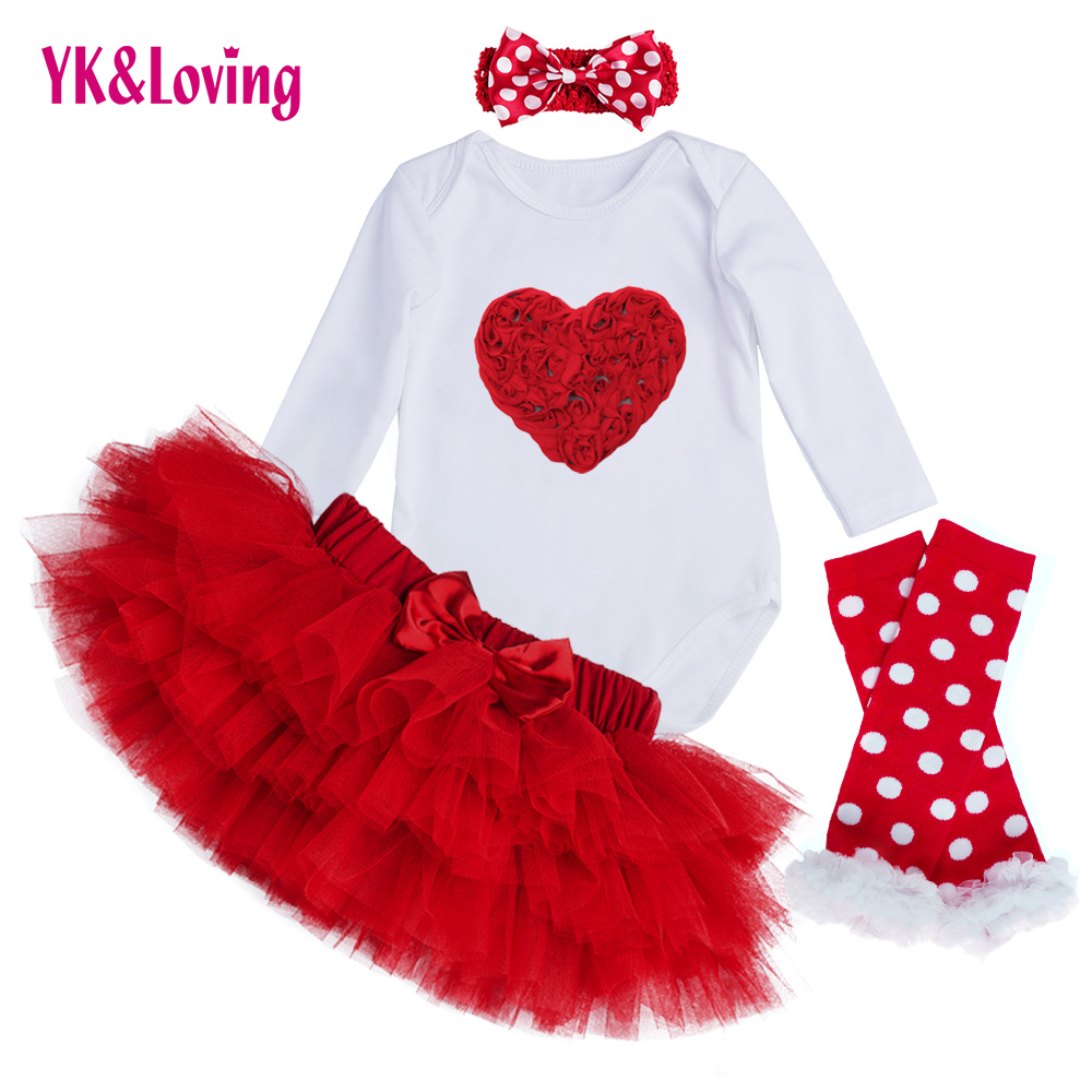 Baby Clothing Sets Long Sleeve Romper Tutu Saia Skirt Set Bebe Kids Babys Fashion Girls Princess Clothes Set Valentines