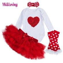 Bébé Vêtements Ensembles À Manches Longues Barboteuse Tutu Saia Jupe Set Enfants Babys De Mode Filles Princesse Vêtements Saint Valentin