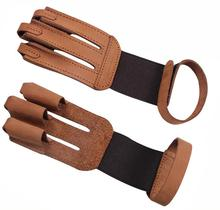 Archery 3 Finger Guard Protective Glove with Cow Leather Finger Tab Protector for Recurve Longbow Hunting Shooting Training Game