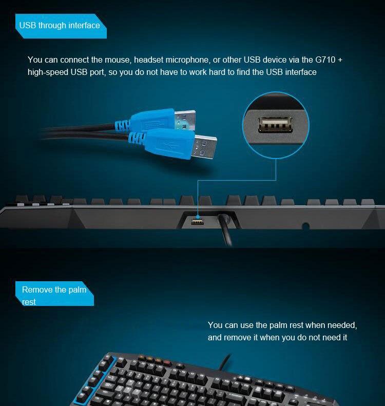 Logitech g710 + azul wired gaming teclado