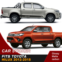 где купить 2PC free shipping hilux car sticker side door stripe  racing graphic vinyl for TOYOTA HILUX revo vigo and по лучшей цене