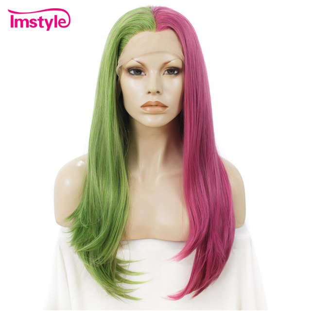 Imstyle Synthetic Lace Front Wig Half Green Half Pink Wig Straight Hair Cosplay  Wigs For Women Two Tone Heat Resistant Fiber b64a1bffe