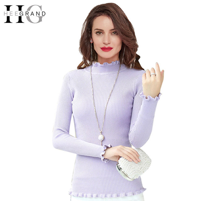 Hee grand colorido babados gola pullovers completo manga 2016 moda outono magro stretchy mulheres sólida camisola puxar femme wzl665