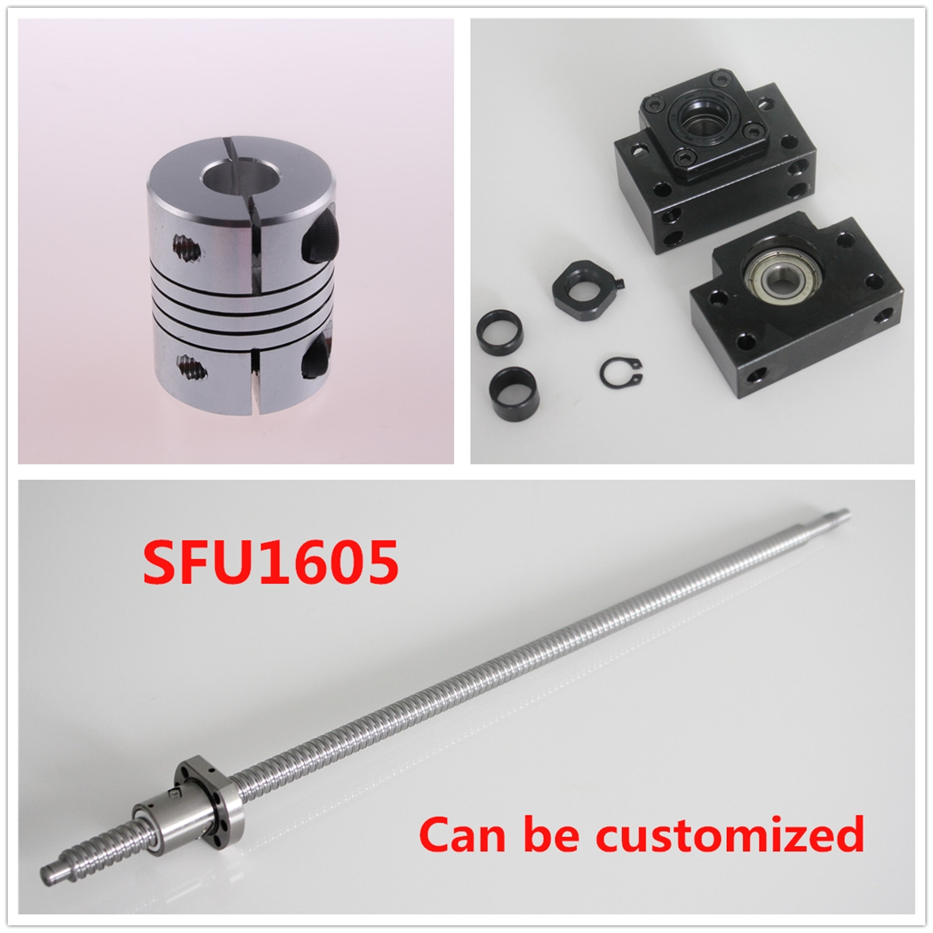 SFU1605 Ball Screw Set L 750mm Ballscrew End Machine & BK12 BF12 End Support + 6.35x10mm Coupler ball screw sfu1605 550 end machine with bk12 bf12 end support bearing mounts 1set