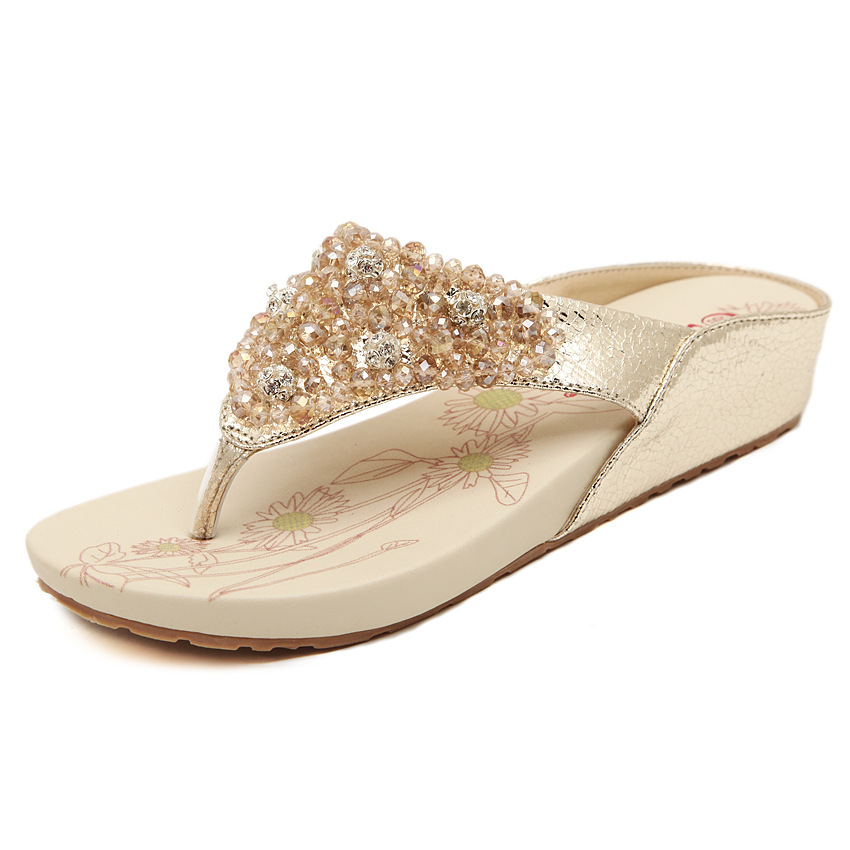 285f07ce5c6923 Women Flip Flops 2017 Summer Fashion Rhinestones Genuine Leather Slippers  Female Designer Flat .