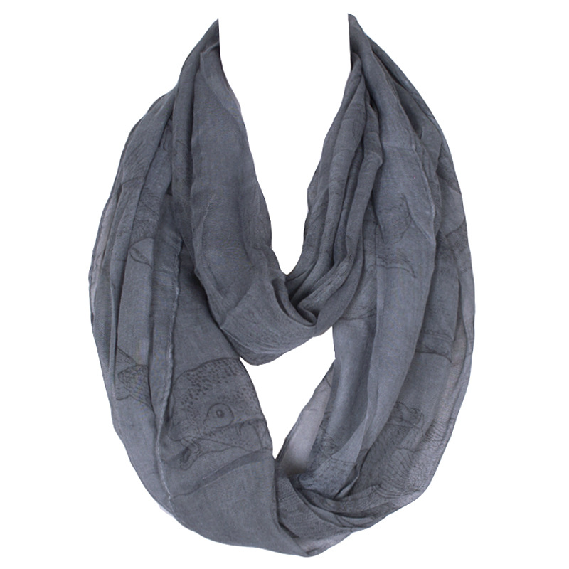 2019 Módní zimní teplý tenký polyesterový nekonečný šátek pro ženy Tmavě šedá ryba Potisk malé měkké prstenové smyčky 180 * 60 cm