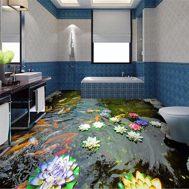 beibehang Custom Flooring 3d Photo Decorative Painting High Definition Chinese Carp Lotus Pond Series 3D Floor papel de parede