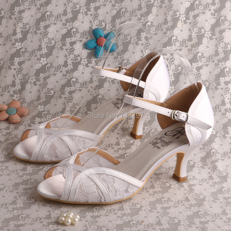 4d5dfd342d35 Wedopus Ivory White Lace Sandal for Women Wedding Bridal Shoes Mid ...
