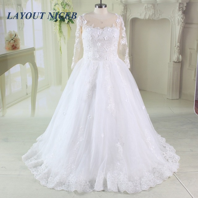Vintage Wedding Dress 2017 For Russian Appliques Tulle Long Sleeve ...