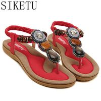 SIKETU Large Size 43 45 National Style Women Sandals Bohemia Flats Beaded Size Foreign Trade Shoes