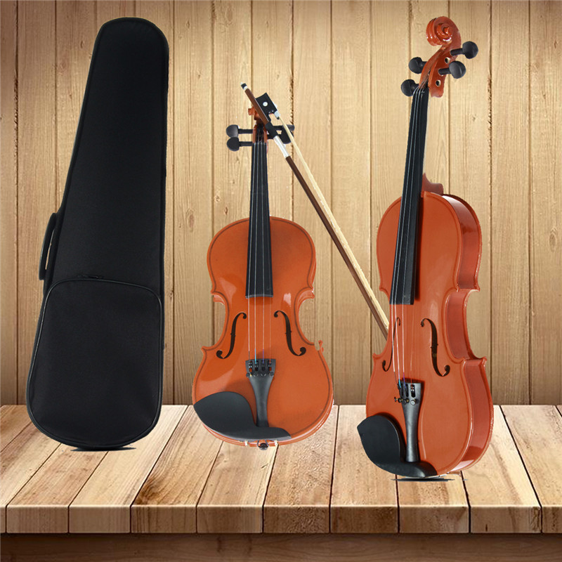 Zebra 3/4 Natural Basswood 4 Strings Acoustic Violin with Violin Case Cover Bow Rosin Foam For Musical Stringed Instrument Lover 4 4 high grade full size solid wood natural acoustic violin fiddle with case bow rosin professional musical instrument