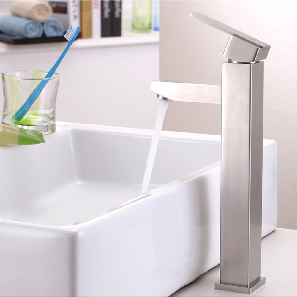 sus304 stainless steel counter basin mixer faucets single hole handle bathroom water tap washbasin faucet lead