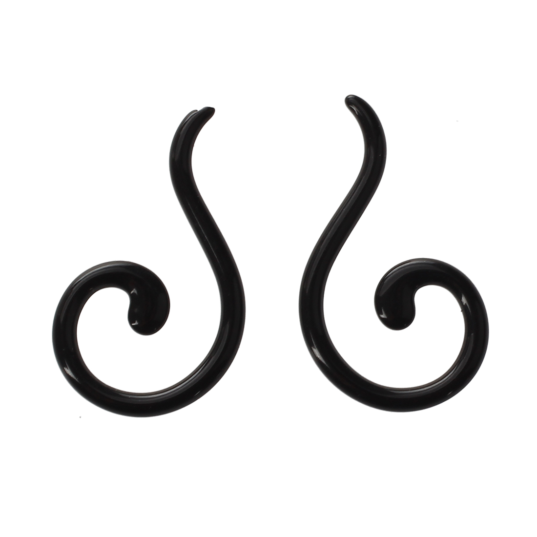 1 pair Acrylic Spiral Taper Flesh Tunnel Ear Stretcher Expander Questions Mark Design Earrings--Black,2mm