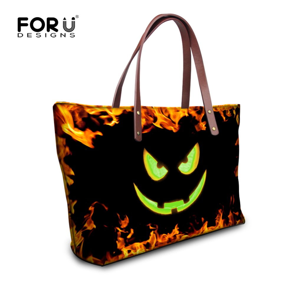 forudesigns fashion women bags cool halloween style women handbags large capacity female tote bag shoulder bags - Halloween Handbag