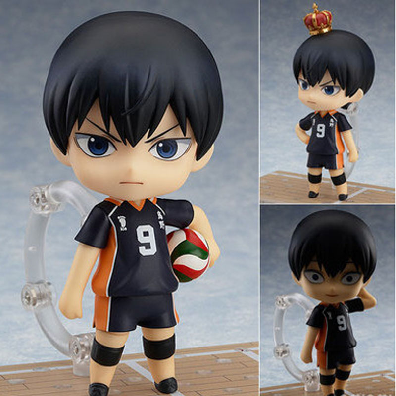4 10cm Japanese Anime Doll Cute Nendoroid Haikyuu Kageyama Tobio #489 PVC Action Figure Model Toy Gifts For Kids 10cm spider man japanese anime lovely swing doll cute black panther mobile phone holder shaking head action