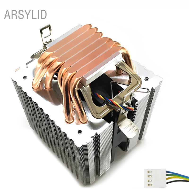 High quality 4PIN <font><b>CPU</b></font> <font><b>cooler</b></font> <font><b>115X</b></font> 1366 2011,6 heatpipe dual-tower cooling 9cm fan,support Intel AMD image