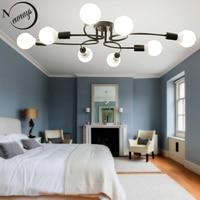 Современная Новинка 8 Огни утюг стекло потолочный светильник светодио дный E27 Европа простой потолочный светильник с 2 цвета для гостиной ст