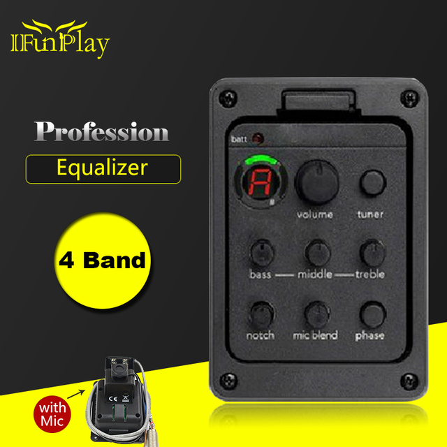 4-Band EQ Equalizer Folk Guitar Preamp Piezo Pickup Guitar Tuner with Mic Beat Board Pickup for Acoustic Guitar Guitar Accessory