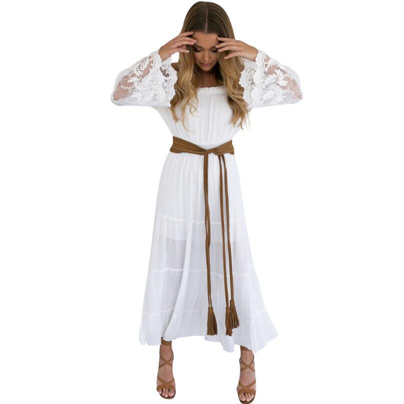 Летний Сарафан длинное белое пляжное платье без бретелек с длинными рукавами свободное сексуальное с открытыми плечами кружевное Бохо Хло...