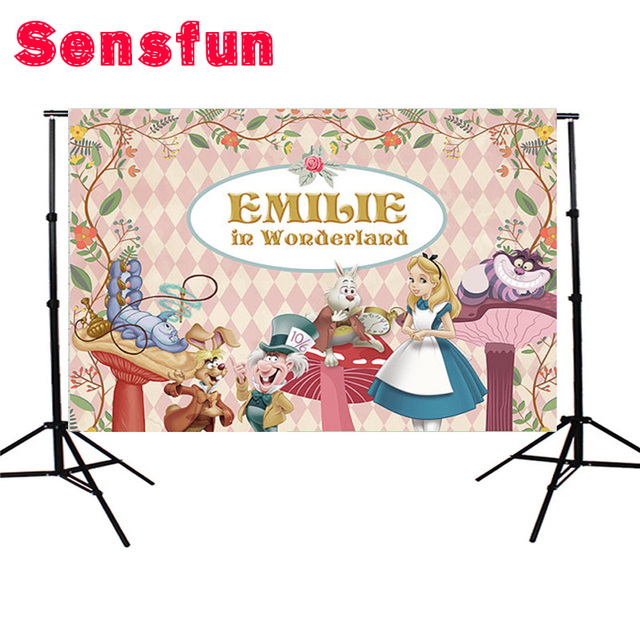 Sensfun Vinyl Newborn Background Alice Wonderland Rabbit Mushroom Animals Flowers Custom Photo Studio Backdrops 5x3ft