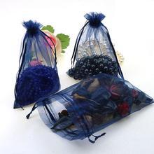 도매 100 개/몫 15x20cm 딥 블루 웨딩 Drawable Organza Voile 선물 포장 가방 수 사용자 정의 로고 인쇄 02