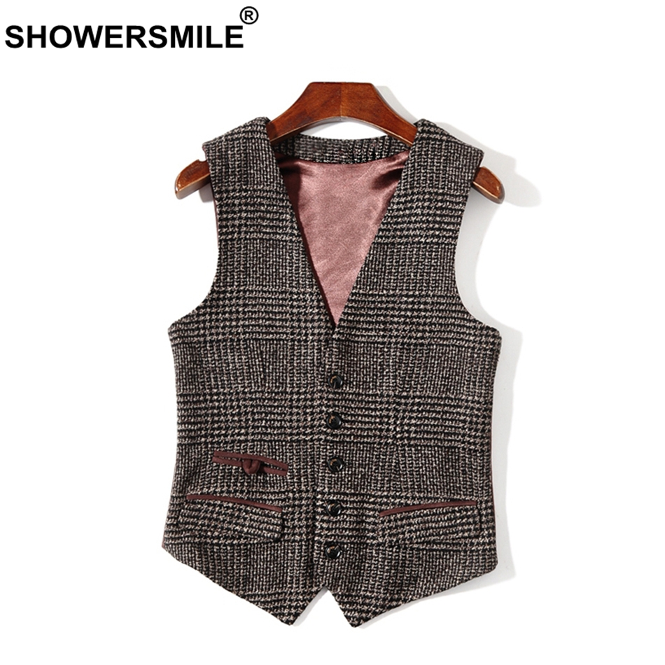 SHOWERSMILE Man Brown Houndstooth Suede Suit Vest Mens British Plaid Tweed Waistcoat Autumn Sleeveless Jacket Vintage Gilet Men