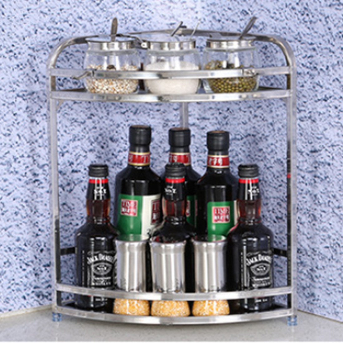 Durable Stainless Steel Storage Rack Kitchen Bathroom Spice Corner Shelf Home Storage Organization Silver