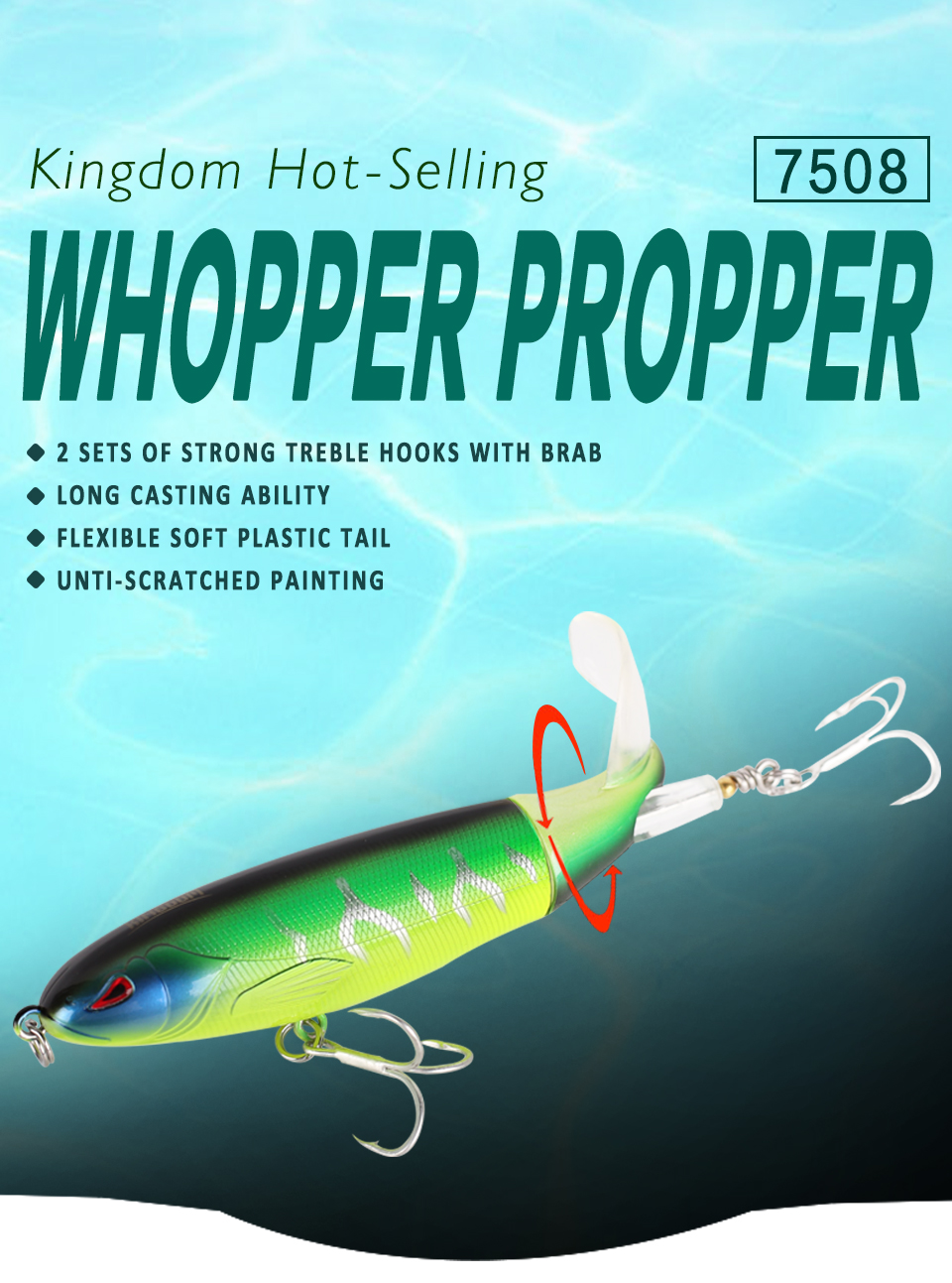 Kingdom Whopper Popper Fishing lures 9cm11cm13cm Topwater Floating Artificial Bait Soft Rotating Tail VMC Hooks fishing tackle