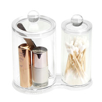 2pc Clear Aussel Circular Clear Acrylic Storage Ball Cotton Swabs Cosmetics Holder Makeup Box Organizer