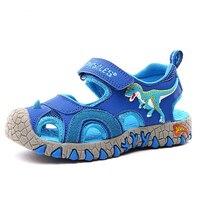 Sandálias menino bebê dinossauro 3d gancho crianças verão sapatos anti-impacto toe da criança meninos sandálias de praia 2019 sapatos casuais