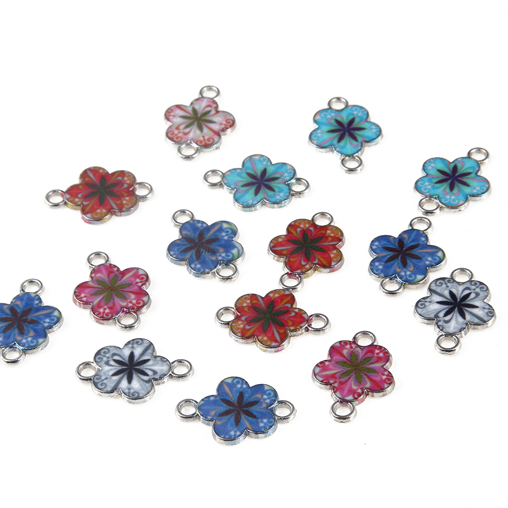 10pcs Fashion Alloy Mixed Color Enamel Art Oil Drop Flower Charms Connector For  DIY Jewelry Accessories 13mm