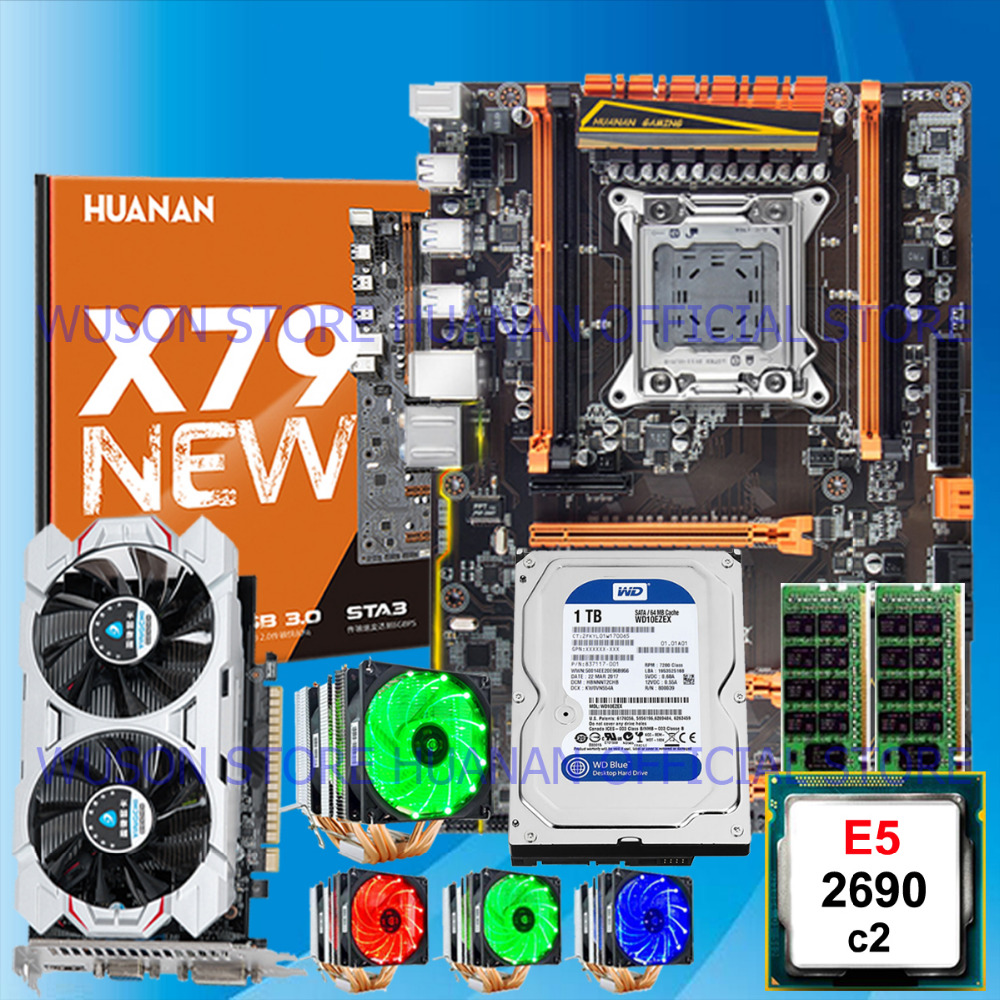 HUANAN ZHI deluxe X79 motherboard with M.2 NVMe slot CPU Xeon E5 2690 RAM 16G(2*8G) 1TB 3.5' SATA HDD video card <font><b>GTX750Ti</b></font> 2GD5 image
