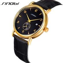 SINOBI Creative Sports Style Luxury Fashion Mens Genuine Leather Band Analog Quartz Watches Casual Males Business Watch AA140