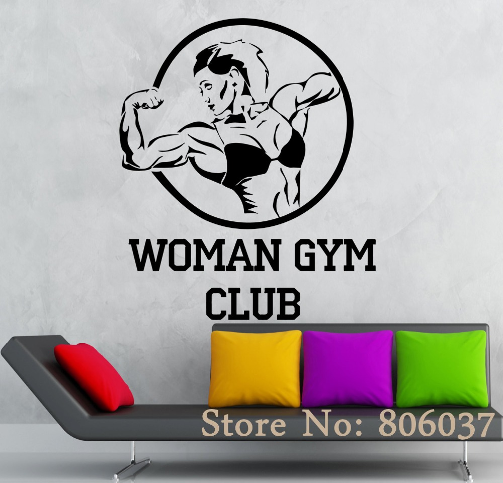 compare prices on sports wall murals online shopping buy low woman gym club sports symbol vinyl decal sport bodybuilding fitness wall stickers home decor wall mural