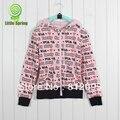 Varejo novo da longo-luva camisola hoodied letras estampados roupas Da Moda meninas de algodão com capuz LittleSpring GLZ-S0204