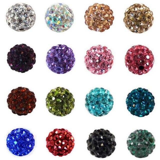 100pcs 10MM Austria Beads Crystal Disco Ball Beads Shambhala Spacer Beads,Austria bracelet Crystal Clay Beads 27 Color