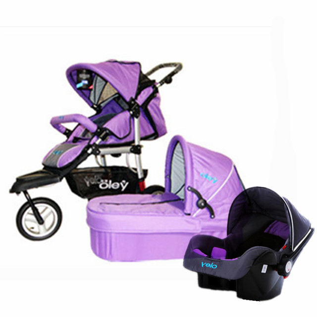 Hot Baby 3 Wheels Prams With Car Seat Bassinet 3 In 1 Prams And
