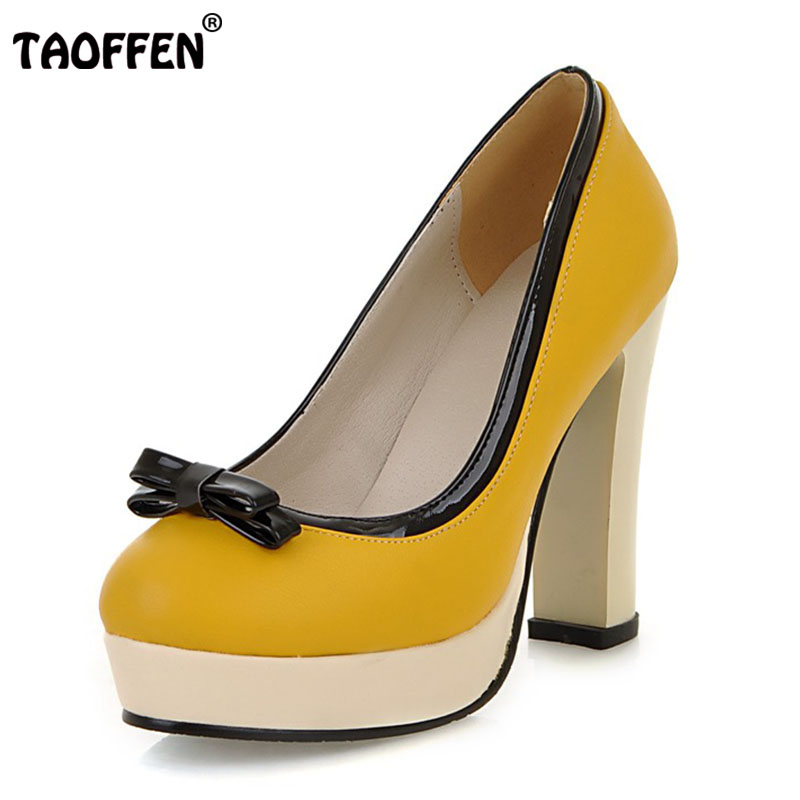 TAOFFEN Size 33-43 Women High Heel Shoes Women Platform Bowtie Round Toe Thick Heels Pumps Party Dating Daily Women Footwears taoffen size 32 43 4 color women high heels shoes round toe thick heel pumps fashion platform bowknot party wedding footwear