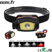 BORUIT XP-G2 светодиодный фар 5 режимов Мини головная лампа COB красный светодиодный фонарик охота Походный налобный фонарь с магнитной AAA Батарея