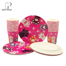 Party supplies 48pcs pet cat footprint party kids birthday party tableware set, 24pcs dessert plates dishes + 24pcs cups glasses