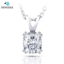 DovEggs Sterling 925 Platinum Plated Silver 1ct 7X8mm Slight Gray Moissanite Pendant Necklace for Women Wedding Gift