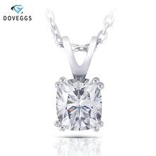 DovEggs Sterling Solid 925 Silver 1ct 7X8mm Slight Gray Moissanite Pendant Necklace for Women Wedding Gift