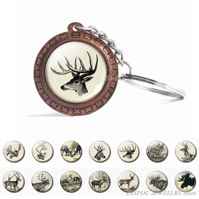 Deer Wooden Keychain Glass Cabochon Jewelry Women Men Vintage Animal Pendant Black And White Elk Key Chain Christmas Gifts